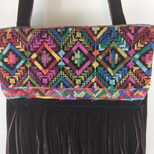 Chocolate brown leather shoulder bag embroidery